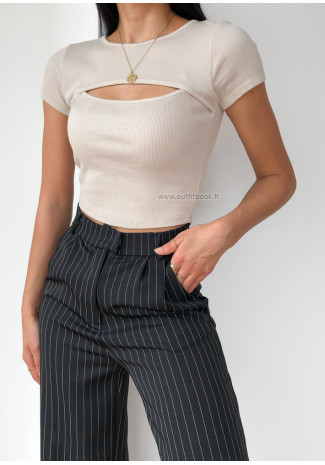 Cut out ribbed top in beige
