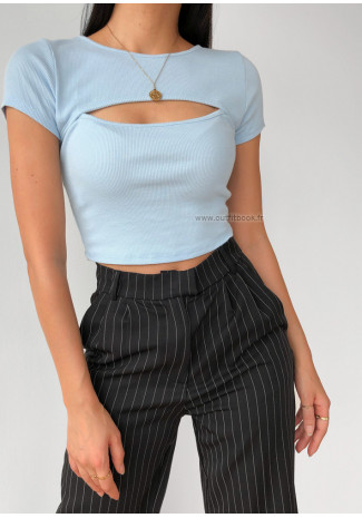 Cut out ribbed top in blue