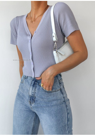 Button through ribbed cardi in lilac