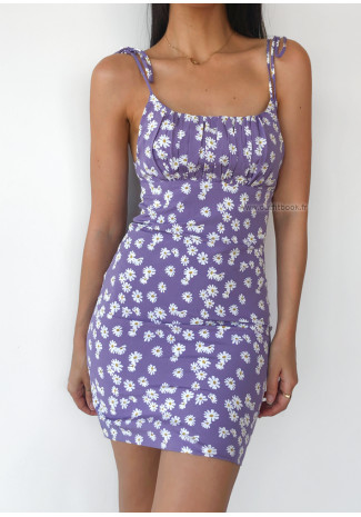 Daisy print dress in purple