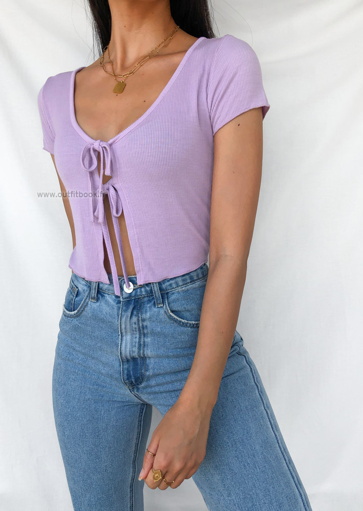 Crop top with double tie detail in lilac