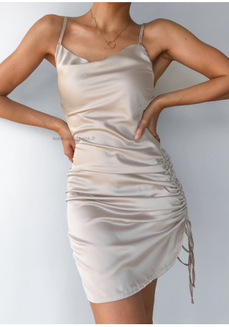 Satin dress with ruched side in beige