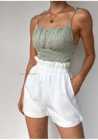 White Shorts with paperbag waist