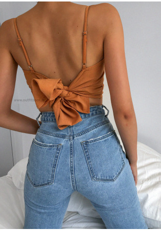 Top with tie back in orange