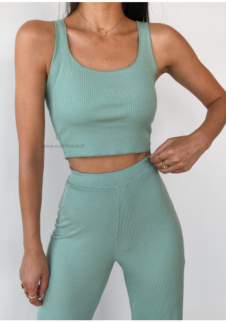Co-ord set top and trousers in green