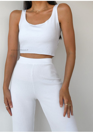 Co-ord set top and trousers in white