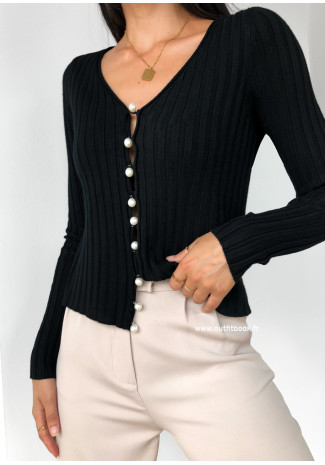 Cardigan with pearl buttons in black