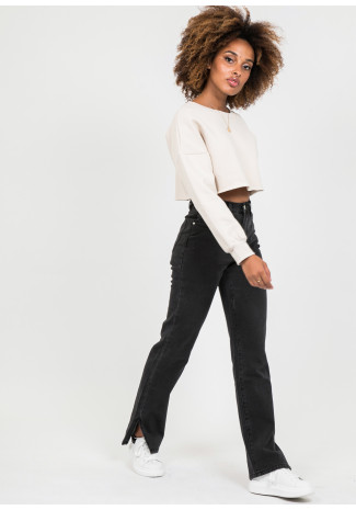 Straight leg split detail jeans in washed black