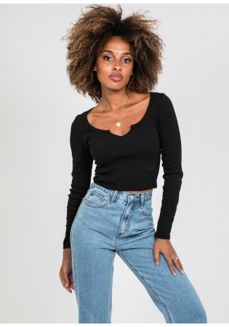 Long sleeves top with notch detail in black