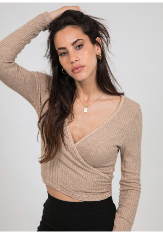 Ribbed wrap top in beige