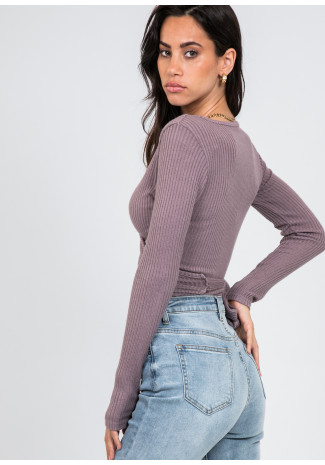 Ribbed wrap top in mauve