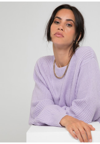 Oversize round neck jumper in lilac