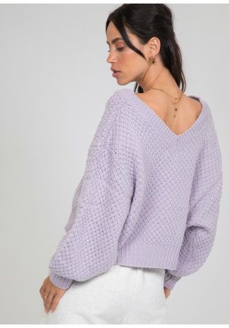 Chunky cable knit v neck jumper in lilac