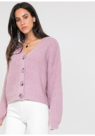 Lavender knit cardigan with buttons