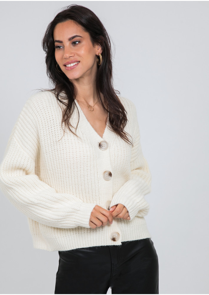 Knit cardigan with buttons in beige