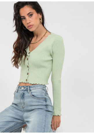 Ruffle hem button front ribbed cardigan in green