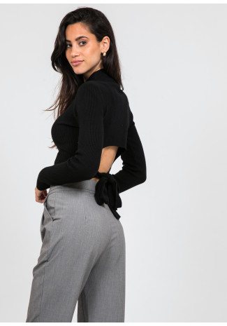 Long sleeve top with knot back detail in black