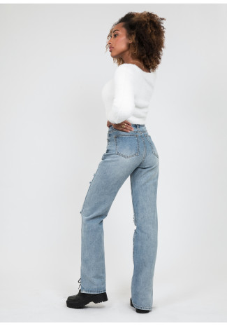Split hem jean in with rips in blue