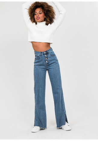 High rise button up straight jeans in blue