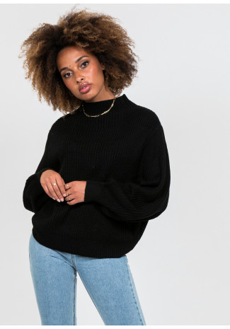 Oversize high neck jumper in black