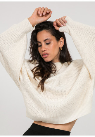 Oversize high neck jumper in beige