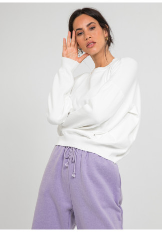 Pull oversize col rond en maille blanc