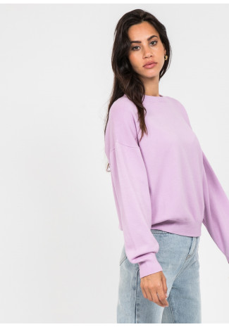 Oversized round neck jumper in lavender