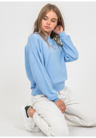 Oversized round neck jumper in blue