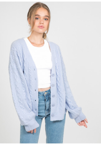Cable knit cardigan in blue