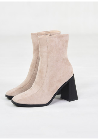 Square toe ankle boots in beige suede