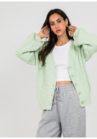 Cable knit cardigan in green