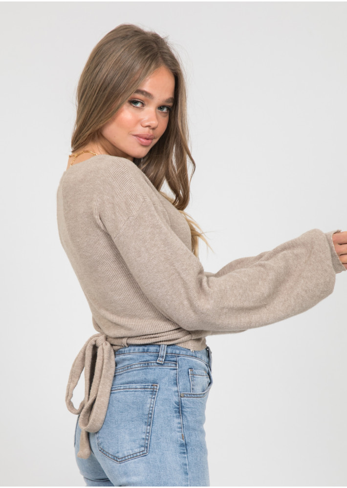 Wrap knitted jumper with ballon sleeves in taupe