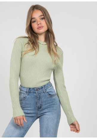 Crew neck ribbed jumper in green