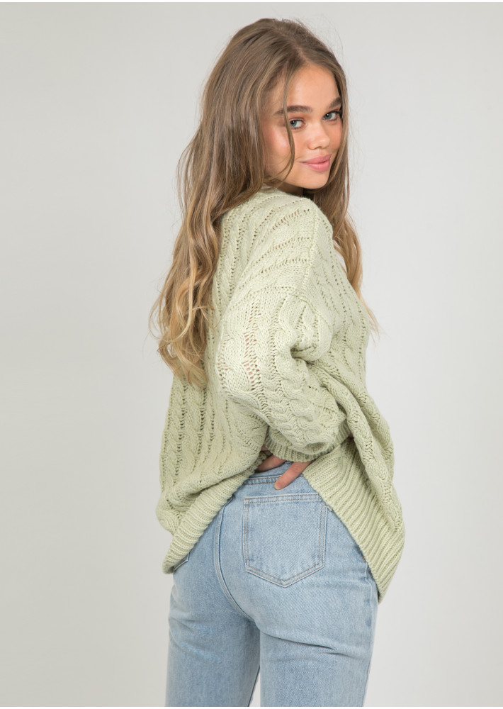 Cable knit round neck jumper in green
