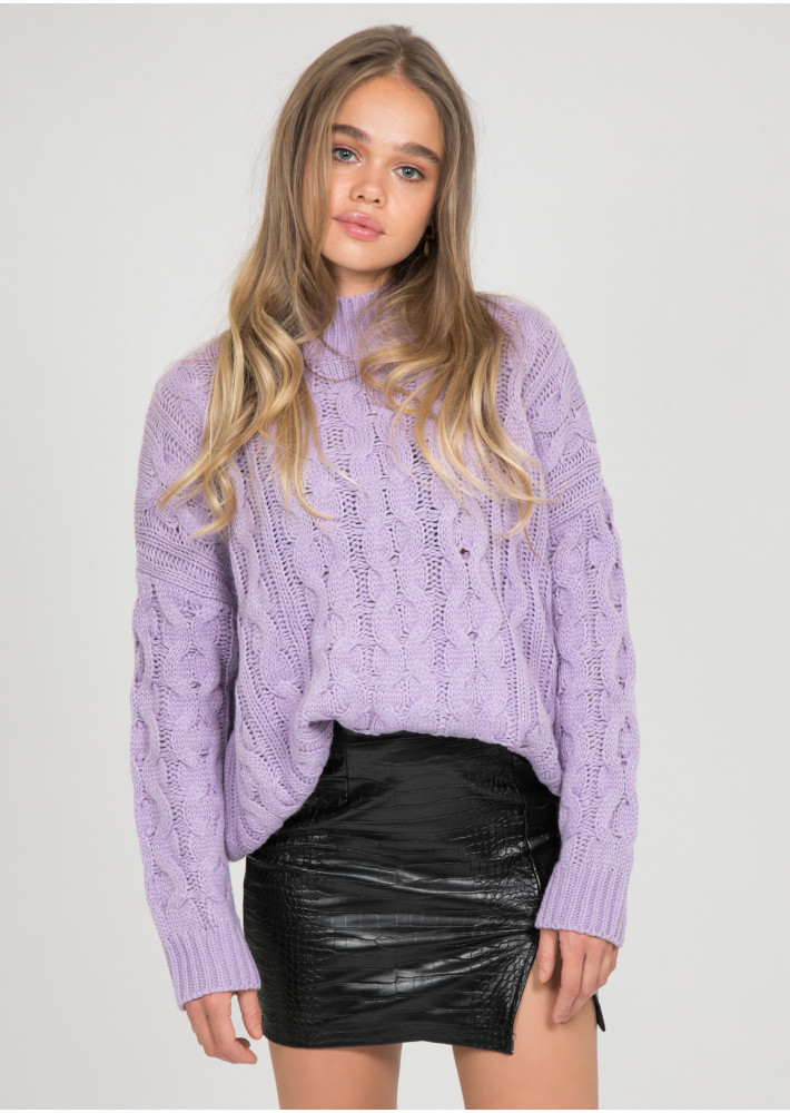 Cable knit high neck jumper in lilac
