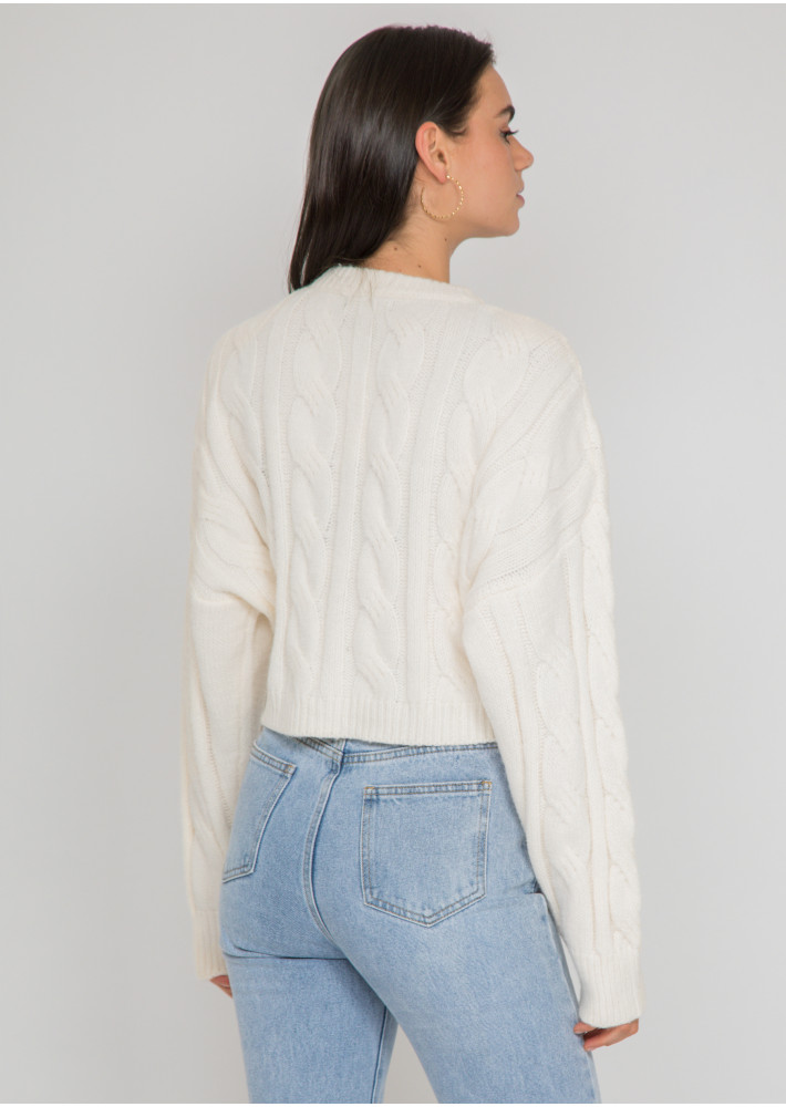 Cable knit jumper in beige