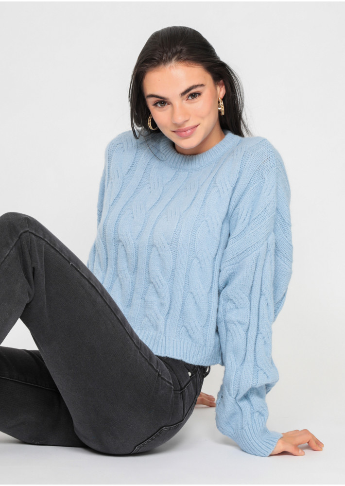 Cable knit jumper in blue