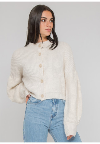 High neck knitted cardigan with buttons in beige