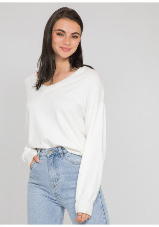 Oversized v neck jumper in white