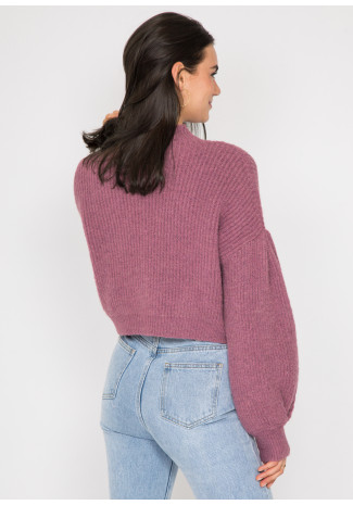 High neck knitted cardigan with buttons in plum