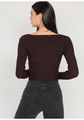 Jumper with cut out detail in brown