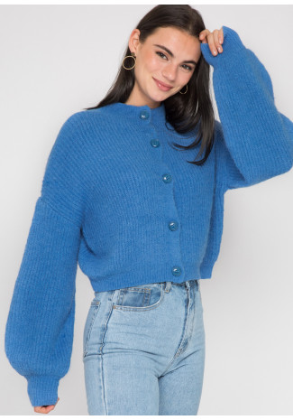 High neck knitted cardigan with buttons in royal blue