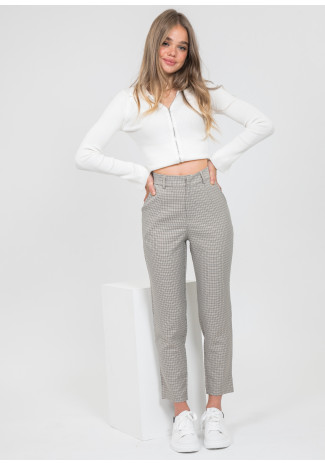 Check trousers in beige