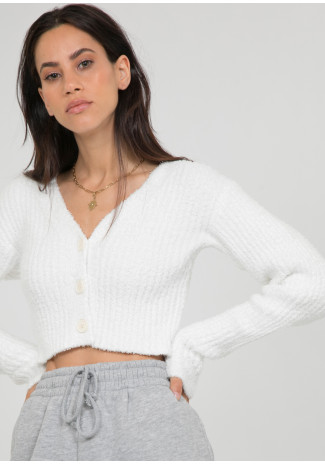 Fluffy ribbed cardigan in white