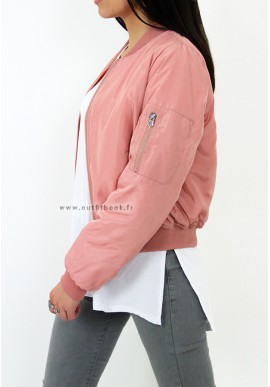 Bomber rose avec doublure orange