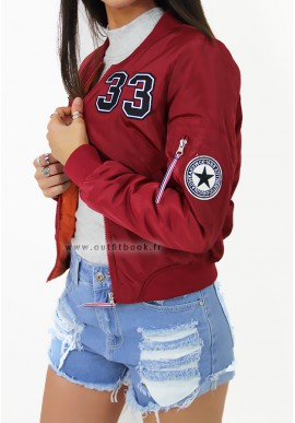 Burgundy bomber jacket with patches