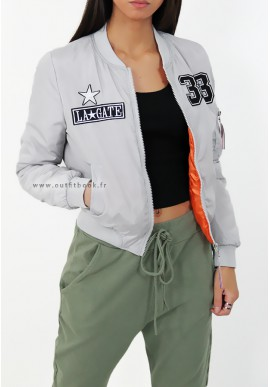 Grey bomber jacket with patches