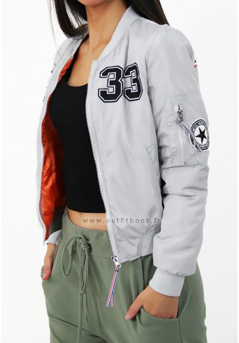 8dc8a6ae4 Grey bomber jacket with patches