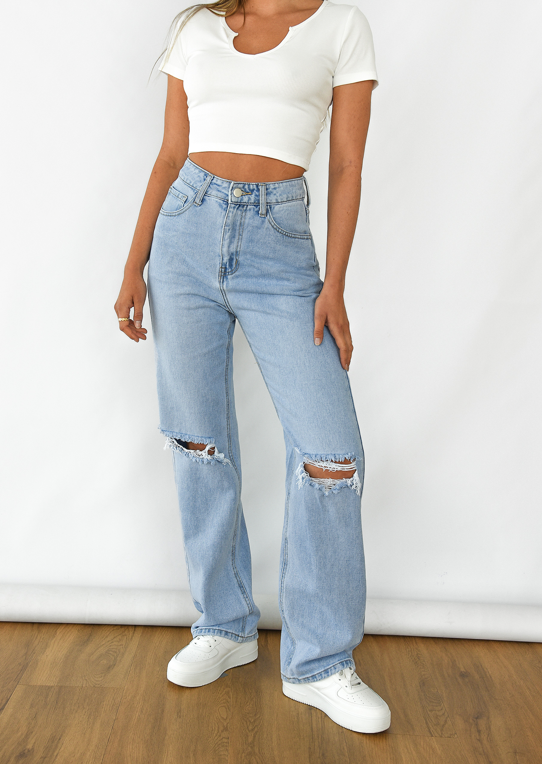 Check high waist trousers in beige